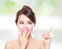 Happy woman with health skin talk to you. Attractive woman with health skin and teeth, she is happy talk to you with nature green background, asian Stock Photo