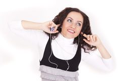 Happy woman hearing music. With mp3 player royalty free stock images