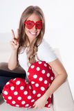 Happy woman in heart glasses Royalty Free Stock Photos