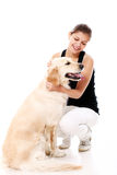 Happy woman and her beautiful dog Stock Photos