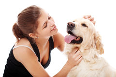 Happy woman and her beautiful dog Stock Photography