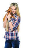 Happy woman and her beautiful puppy dog over white background Royalty Free Stock Photo