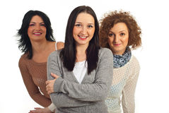 Happy woman and her friends Royalty Free Stock Photography