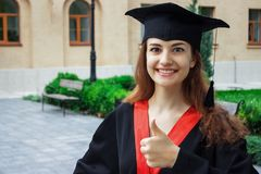 Happy woman on her graduation day University. Education and people.  Royalty Free Stock Images