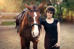 Happy Woman with her Horse Royalty Free Stock Image