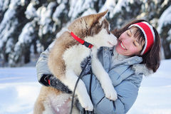 Happy woman and her Husky puppy Stock Photos