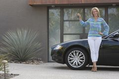 Happy Woman With Her New Car Royalty Free Stock Image