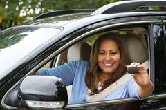 Happy woman in her new car Stock Image