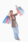 Happy woman with her shopping bags Royalty Free Stock Photography