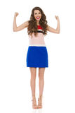 Happy Woman In High Heels With Arms Outstretched Royalty Free Stock Images