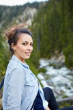 Happy woman hiker Stock Photography