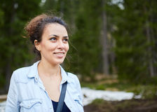 Happy woman hiker Royalty Free Stock Photography