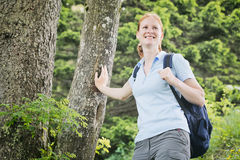 Happy Woman Hiking in the Alps stock photography