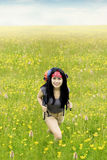 Happy woman hiking in springtime Royalty Free Stock Photo
