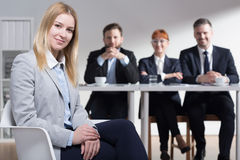 Happy woman hired in corporation Stock Photos