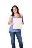 Happy woman hoding whiteboard royalty free stock photo