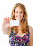 Happy woman hold a blank card Stock Photos
