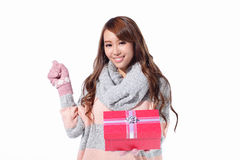 Happy woman hold christmas gift Royalty Free Stock Images
