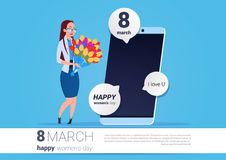 Happy Woman Hold Flowers Standing Over Smart Phone With Greeting Message 8 March Holiday Concept. Vector Illustration Royalty Free Stock Photography