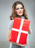 Happy woman hold gift box Stock Image