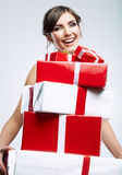 Happy woman hold gift box Royalty Free Stock Photography