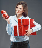 Happy woman hold gift box. Stock Photos