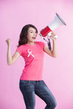 Happy woman hold microphone Royalty Free Stock Images