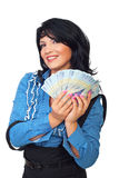 Happy  woman hold Romanian money Stock Photo
