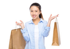 Happy woman hold shopping bag Stock Image