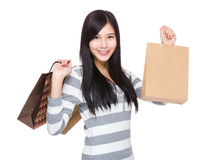 Happy Woman hold with shopping bag Stock Photography