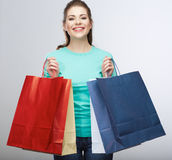Happy woman hold shopping bag. Studio isolated portrait Royalty Free Stock Images