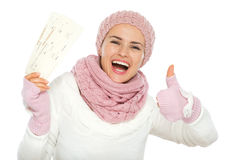 Happy woman holding air tickets Stock Photo