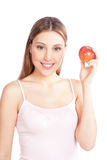 Happy Woman Holding Apple Royalty Free Stock Photos