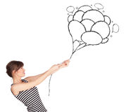 Happy woman holding balloons drawing Stock Image
