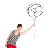 Happy woman holding balloons drawing Royalty Free Stock Images