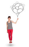 Happy woman holding balloons drawing Stock Photography