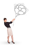 Happy woman holding balloons drawing Royalty Free Stock Photo