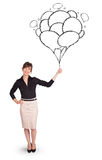 Happy woman holding balloons drawing Royalty Free Stock Image
