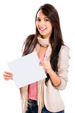 Happy woman holding banner Stock Image