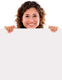 Happy woman holding banner Stock Photo