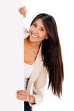 Happy woman holding a banner Stock Image