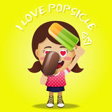 Happy woman holding big popsicles Stock Photo