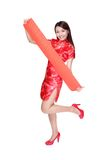 Happy woman holding blank red couplets Royalty Free Stock Images