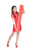 Happy woman holding blank red couplets Stock Image