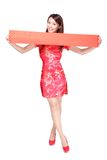 Happy woman holding blank red couplets stock photos
