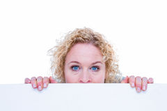 Happy woman holding blank sign Royalty Free Stock Image