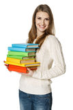 Happy woman holding books Royalty Free Stock Images