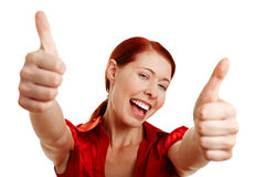 Happy woman holding both thumbs up Royalty Free Stock Photos