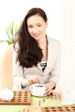 Happy Woman Holding Bowl Royalty Free Stock Image