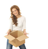 A happy woman holding a box Stock Image